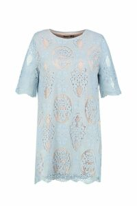 Womens Plus All Over Lace Shift Dress - blue - 20, Blue