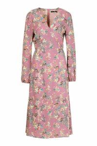 Womens Tall Floral Print Wrap Midi Dress - purple - 8, Purple