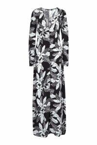 Womens Tall Leaf Print Button Through Maxi Dress - black - 10, Black