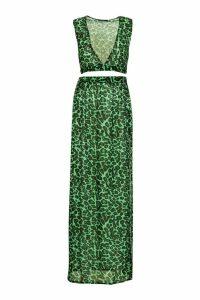 Womens Leopard Plunge Top & Skirt Beach Co-Ord - green - XS, Green