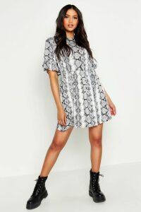Womens Tall Snake Print Smock Dress - grey - 16, Grey
