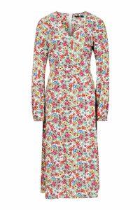 Womens Tall Ditsy Floral Print Wrap Midi Dress - white - 10, White
