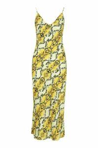 Womens Tall Snake Print Satin Slip Dress - yellow - 14, Yellow