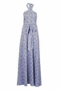 Womens Tall Printed Halter Twist Belted Maxi Dress - blue - 6, Blue