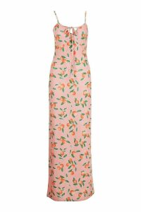 Womens Tall Fruit Print Tie Detail Maxi Dress - Pink - 8, Pink