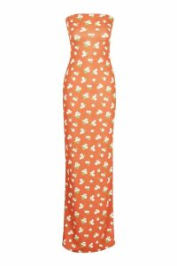 Womens Tall Bandeau Large Scale Floral Maxi - orange - 8, Orange