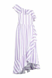 Womens Tall Textured Stripe Ruffle Hem Midi Dress - purple - 12, Purple