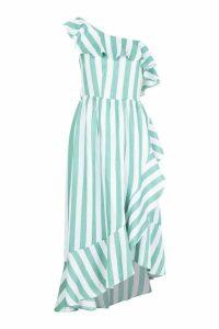 Womens Tall Textured Stripe Ruffle Hem Midi Dress - green - 14, Green