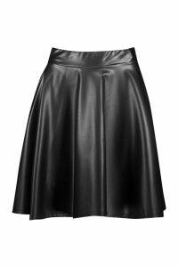 Womens Tall Pu Skater Skirt - black - 8, Black