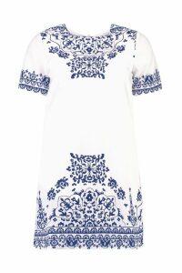 Womens Petite Placement Print Cap Sleeve Shift Dress - multi - 10, Multi