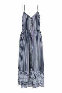 Womens Tall Stripe Embroidered Hem Midi Dress - navy - 8, Navy