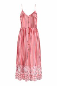 Womens Tall Stripe Embroidered Hem Midi Dress - 10, Red