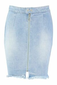 Womens Tall Zip Through Denim Mini Skirt - Blue - 8, Blue