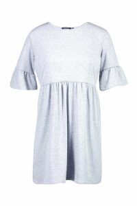 Womens Tall Ruffle Sleeve Smock Dress - grey - 12, Grey