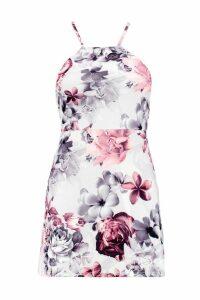Womens Petite Floral Print Strappy Mini Dress - grey - 14, Grey