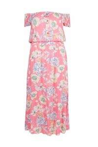 Womens Plus Floral Off The Shoulder Maxi Dress - Pink - 20, Pink