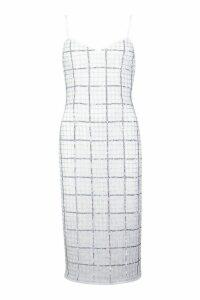Womens Premium Hand Embellished V Neck Midi Dress - white - 10, White