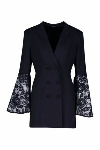 Womens Premium Lace Flared Sleeve Blazer Dress - black - 10, Black