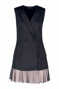 Womens Premium Satin Dobby Mesh Hem Blazer Dress - black - 12, Black