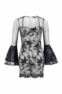 Womens Premium Lace Cupped Flare Sleeve Mini Dress - black - 14, Black