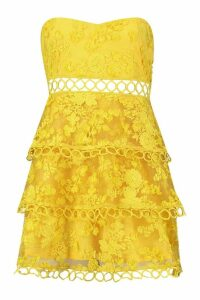 Womens Premium Bandeau Lace Tiered Skater Dress - yellow - 16, Yellow