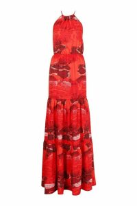 Womens Tall Snake Print Halterneck Maxi Dress - red - 12, Red