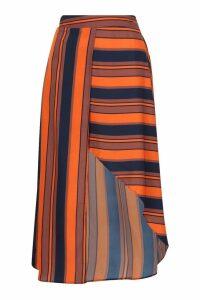 Womens Tall Asymmetric Stripe Midi Skirt - red - 10, Red