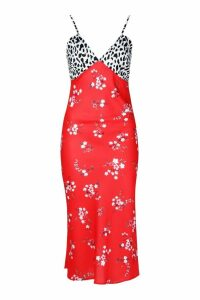 Womens Tall Satin Mixed Floral Bias Cut Midi Dress - red - 12, Red