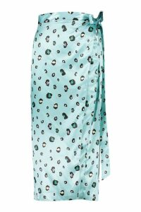 Womens Tall Leopard Print Satin Wrap Midi Skirt - green - 8, Green