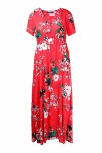Womens Plus Floral Print Maxi Dress - red - 16, Red