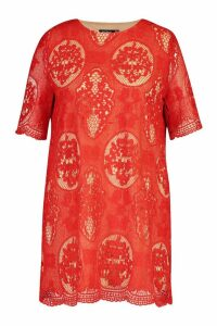 Womens Plus All Over Lace Shift Dress - red - 16, Red