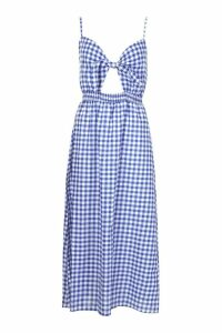 Womens Tall Tie Front Gingham Skater Dress - blue - 6, Blue