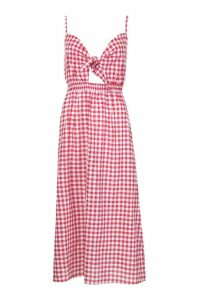 Womens Tall Tie Front Gingham Skater Dress - red - 16, Red