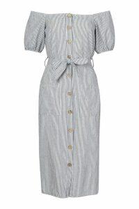 Womens Tall Button Front Stripe Linen Midi Dress - navy - 14, Navy