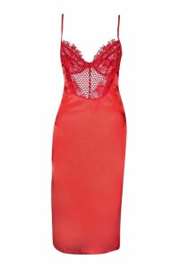 Womens Tall Satin Lace Cupped Bodycon Dress - red - M, Red