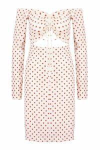 Womens Tall Polka Dot Ruched Off Shoulder Dress - white - 14, White