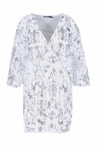 Womens Premium Hand Embellished Kimono Sleeve Dress - white - 14, White