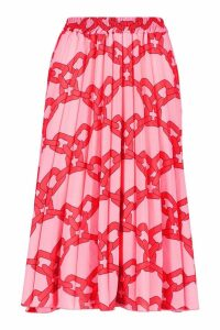 Womens Tall Chain Print Midi Skirt - Pink - 12, Pink