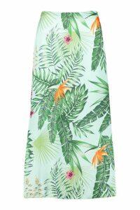 Womens Tall Tropical Print Midi Skirt - blue - 14, Blue