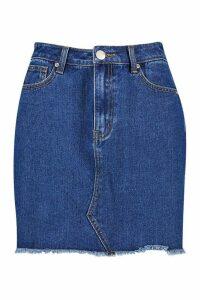 Womens Tall Fray Hem Denim Skirt - blue - 8, Blue