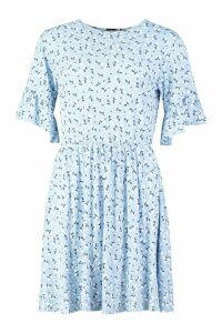 Womens Tall Ditsy Floral Smock Dress - blue - 12, Blue