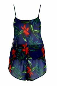 Womens Tropical Short & Cami Beach Co-ord - blue - L, Blue