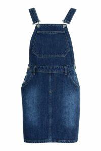 Womens Tall Front Pocket Denim Pinafore - blue - 10, Blue