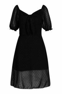 Womens Tall Dobby Mesh Skater Dress - black - 14, Black