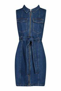 Womens Tall Sleeveless Tie Waist Denim Dress - blue - 6, Blue