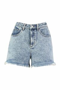 Womens Tall Acid Wash Fray Hem Shorts - Blue - 8, Blue