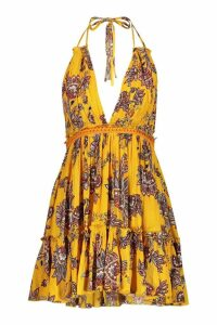 Womens Petite Paisley Embroidered Skater Dress - yellow - 10, Yellow