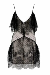 Womens Premium Strappy Lace Frill Hem Mini Dress - black - 14, Black