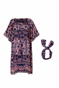 Womens Scarf Print Four Piece Co-ord - navy - S, Navy