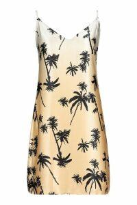 Womens Tall Palm Print Woven Slip Dress - brown - 14, Brown